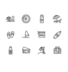 simple set summer holiday on sea beach line vector image