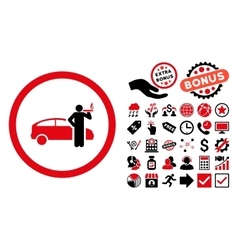 Smoking Taxi Driver Flat Icon with Bonus vector