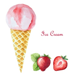 Strawberry ice cream in a waffle cone vector