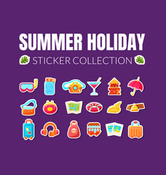 Summer holiday stickers collection vector