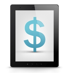 Tablet PC with money vector image