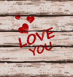 Valentines card with text love you vector image