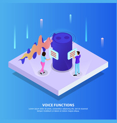 Voice functions isometric background vector