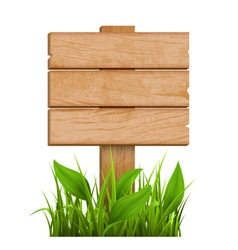 Wooden Signpost with Grass Isolated on White vector image