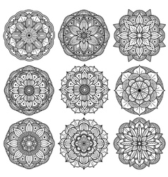 Yoga medallions meditation mandalas arabesque vector