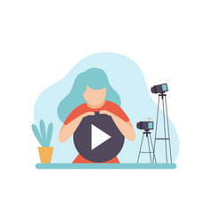 young woman blogger creating video content online vector image