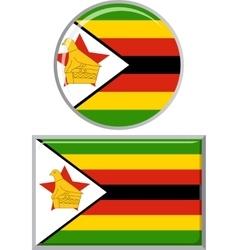 Zimbabwean round and square icon flag vector