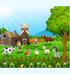 Zookeeper with the animals at the farm vector