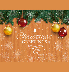 christmas card with detailed pine branches vector image