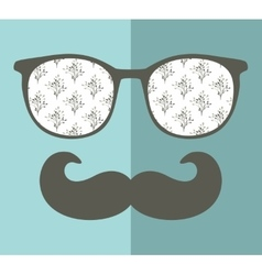 Cool hipster face print of man with sunglasses vector image vector image