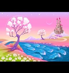 Fantasy landscape with castle vector image
