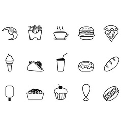 junk food fast food outline icons set vector image vector image