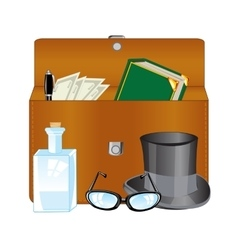 Open briefcase and subjects vector image vector image