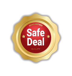 safe deal sticker golden medal icon badge isolated vector image