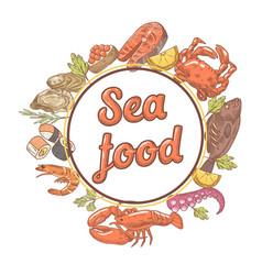 seafood restaurant menu design with fish crab vector image