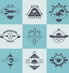 Set of seafood logos Lobstershrimp crab restaurant vector image vector image