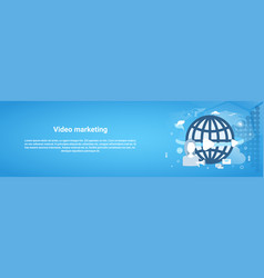 video marketing concept horizontal web banner with vector image vector image