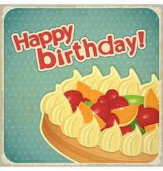 Vintage birthday card with Fruit Cake vector image