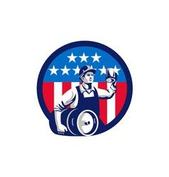 American Builder Beer Keg Flag Circle Retro vector image