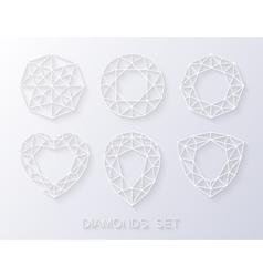 Elegant paper style diamonds icons logo set vector