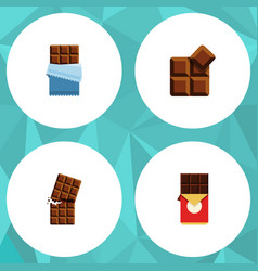 Flat icon cacao set of bitter wrapper cocoa and vector