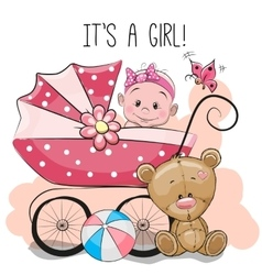 Greeting card its a girl with baby carriage and vector image vector image