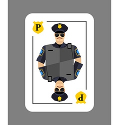 Playing card policeman Conceptual new card police vector image vector image
