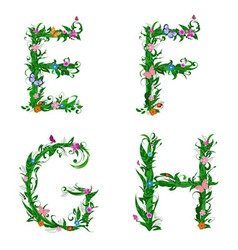 summer floral alphabet letters vector image vector image