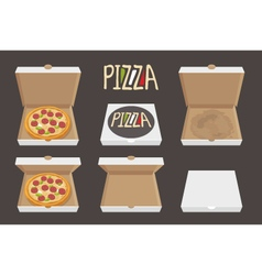 The whole pizza in the opened and closed cardboard vector image vector image