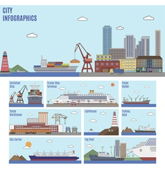 City Sea Port Infographics vector image vector image