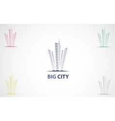 Colorful city icons vector image