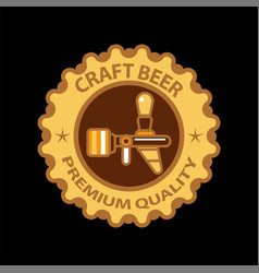 craft beer premium label icon of beer tap vector image vector image