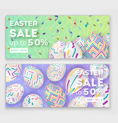 easter banners with 3d ornate eggs on green and vector image vector image