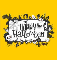 happy halloween banner on yellow vector image vector image
