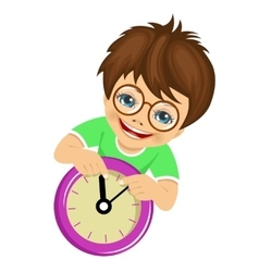little boy showing arrows on the wall clock vector image vector image