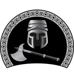 medieval helmet with axe vector image