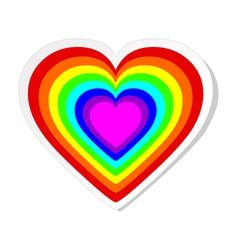 Rainbow heart sticker vector