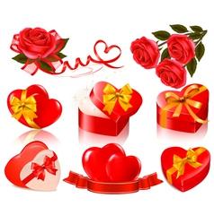 set of valentine elements vector image vector image