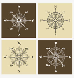 wind rose compass set vector image