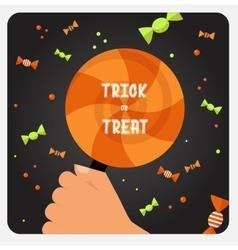 Halloween trick or treat card design vector image vector image
