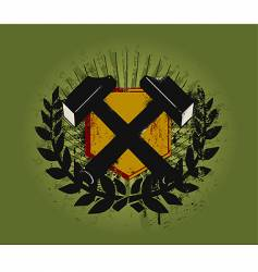 hammer emblem vector image vector image