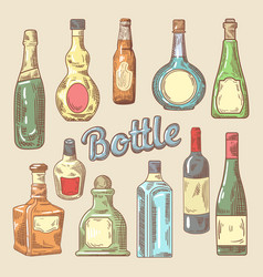hand drawn set of different bottles for drinks vector image vector image
