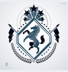 luxury heraldic emblem template made using horse vector image