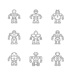 set line icons of robot vector image
