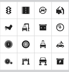 Set of 16 editable vehicle icons includes symbols vector