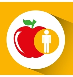 silhouette man apple nutrition healthy vector image vector image
