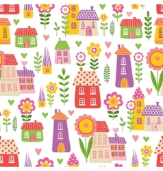 The pattern of the houses and plants vector image