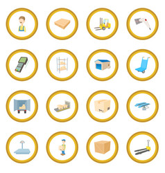 warehouse logistic storage icon circle vector image vector image