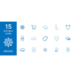 15 brown icons vector