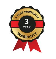 3 year warranty badge warranty certificate yea vector